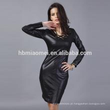 OEM Novo estilo de moda de manga longa O-pescoço de couro elegante vestido casual para as mulheres