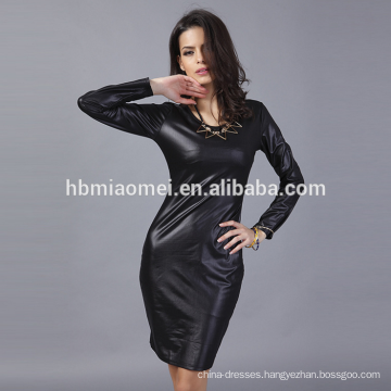 OEM New style fashion long sleeve O-neck elegant leather casual dress for women