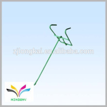 Polvo verde simple y conveniente revestido strudy solo alambre venta al por menor metálico colgando el gancho de la exhibición