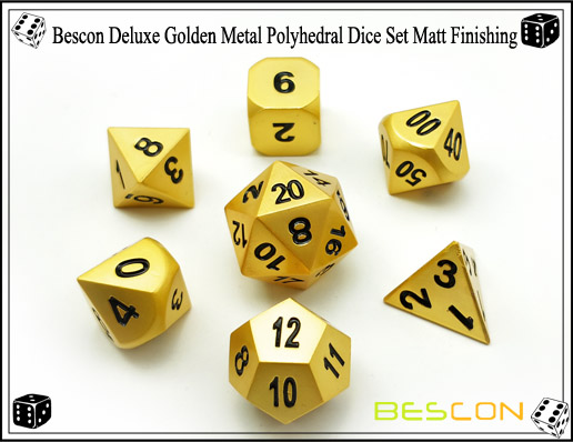 Bescon Deluxe Golden Metal Polyhedral Dice Set Matt Finishing-4
