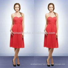 Simple Empire Chiffon Brautjungfer Kleider Coral Color 2014 Sweetheart knielangen kurzen Abendkleid mit Criss-Cross Pleats NB0735