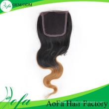 Omber Цвет Бразильский Человеческих Волос Закрытие