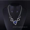 Mode Saphir Cristal Coeur Style Plaqué Or Bijoux Collier Set