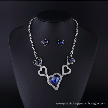 Mode Saphir Kristall Herz Stil Vergoldung Schmuck Halskette Set
