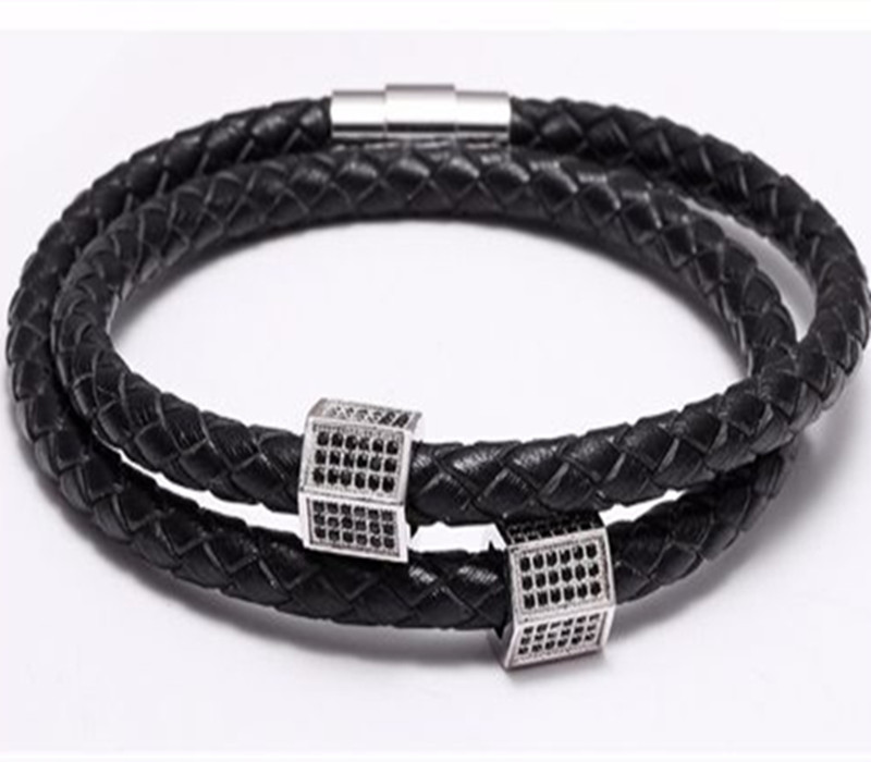 Black Leather Cubic Zirconia Charm Magnetic Clasp Bracelet