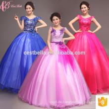 In voller Länge Ballkleid Spitze appliqued Quinceanera Kleid lila blau rot rosa Ballkleid prom Kleid