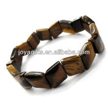 Tigereye gemstone rhombic Spacer esferas pulseira esticar
