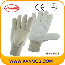 Cowhide Split Leather Industrial Safety Work Gloves with White Wrist Cuff (11021)