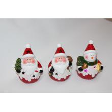 Decoración del hogar cerámica porcelana navideña con luz