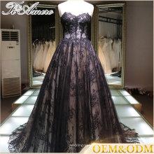Fornecedor de China renda de luxo preto feito sob medida mais vestido de bola de tamanho