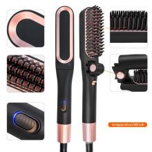 Cepillo de pelo eléctrico con calefacción para hombres, cepillo de peine para barba