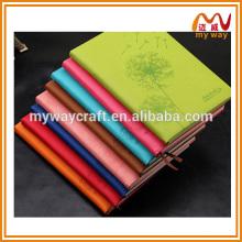 Caderno de couro fino da empresa coreana de 2016, caderno de notebook personalizado com marcadores