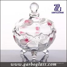 Verre en verre gravé avec motif fleur (GB1804YJX / PDS)