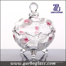 Glass Jar Engraved with Flower Design (GB1804YJX/PDS)