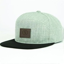Leather Patch Flat Bill Cap Wool 6 Panel Snapback caps