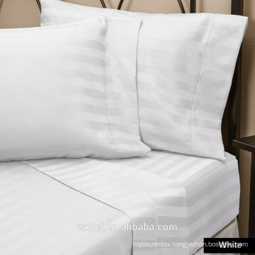 Factory Wholesale 100% Natural Cotton White stripe Hotel king size bed linen