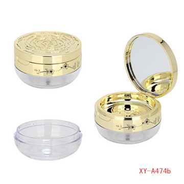 Golden Color Loose Powder Compact Case With Mirror