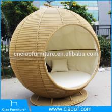 Stylish Beach Pomme de forme ronde en rotin Sun Bed