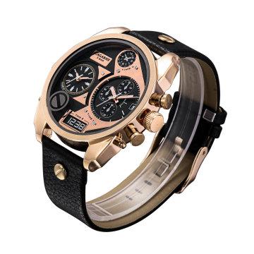 Розовое Золото Двойное Движение Многофункциональный Дизайн Часы