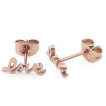 Simple Stainless Steel Rose Gold Custom Letter Fashion Earrings Studs