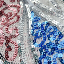 Recién llegado, patrón de ondulación, tejido de punto de poliéster metálico de 3 mm, pequeña tela de bordado de malla de lentejuelas