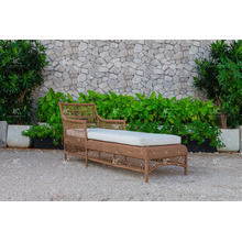 Diseño simple Poly sintético resina Rattan Sun Lounger para jardín al aire libre Playa y Resort