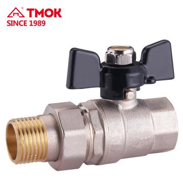 Válvula de esfera de bronze Única união 15mm / 20mm / 25mm tubo torneira com alça de alumínio T aprovado pela CE