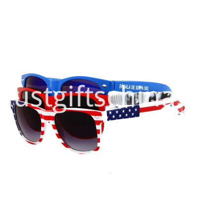 Flag Printing Retro Square Style Sunglasses