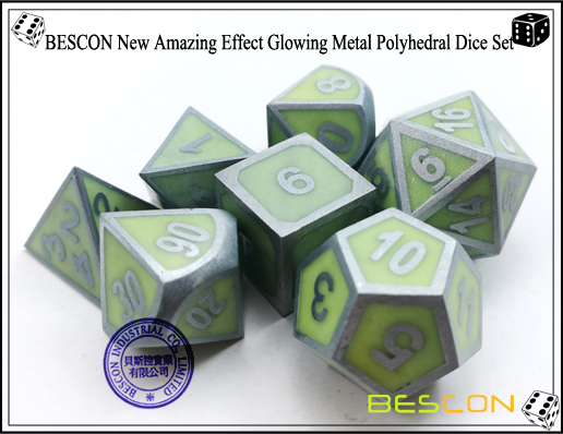 BESCON New Amazing Effect Glowing in the Dark Metal Polyhedral Role Playing RPG Game Dice Set of 7-8