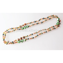 Extra lange Hand geknotet Crystal Pearl Perlen Halskette