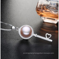 Wholesale Pearl Pendant 9-10mm AAA Bread Round 925 Silver Freshwater Pearl Pendant