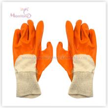 Gants de sécurité de travail de coton semi-enduits / trempés de nitrile, gants de jardin