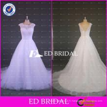 ED Robe de mariée à encolure en mousseline blanche élastique à manches courtes Robe de mariée en tulle à encolure 2017