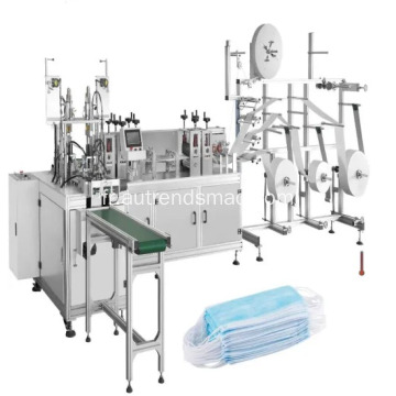 Machine de production jetable automatique non tissée de masque facial de 3 plis