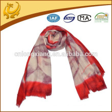custom made SGS certificate woman cashmere shawl with fur trim