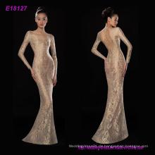 Neue Mode Top Qualität Transparent Gold Spitze Lange Ärmel Party Abendkleider Bodenlangen Kleid