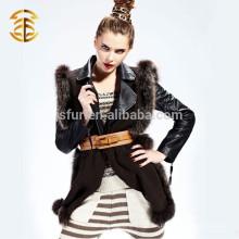 2015 Neueste Winter-Damen-Fox-Pelz-Streifen-Wolle strickte Schal und Schal