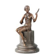 Weibliche Sammlung Bronze Skulptur handgemachte Spiegel Mädchen Messing Statue TPE-703