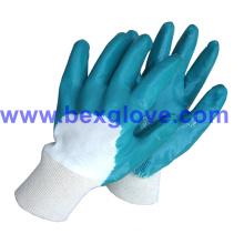 Cotton Interlock Liner, Nitrile Coating, Half Coated Safety Gloves
