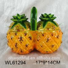 Recipiente de comida de cerámica creativa en forma de piña doble
