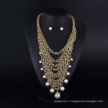 Chaîne en aluminium plaqué or collier perlé Multilaye