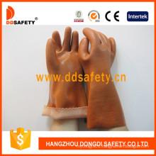 Brown PVC Sandy Finished Cotton Liner Woking Glove Dpv112