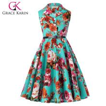 Grace Karin Kids Retro Vintage Dress Sleeveless Lapel Collar Children Party Dress Girls Summer Dress CL009000-7