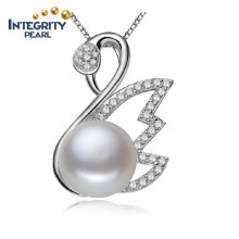 Silver Pearl Pendant Necklace 9-10mm AAA Bread Round Swan Shaped Real Freshwater Pendant