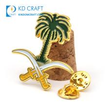 Manufacturer custom metal enamel gold national day emblem lapel pin badge palm saudi arabia coconut pin for souvenir