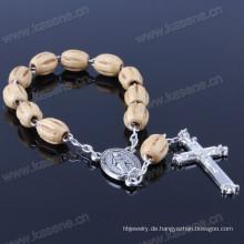 Italien Religiöse Holzperlen Armband mit Kreuz