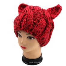 Рука Вязание Evil Cat Ear Hat, рука Вязание животных Hat