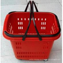 Cesta de supermercado de plástico de lujo con ruedas