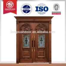 Teak Wood Double Entry Door Design / Used Solid Wood Interior Doors