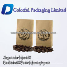 Personalizado saco de papel kraft grãos de café torrado doypack sacos de embalagem de grãos de café sacos de plástico de fundo plano de café sacos de plástico